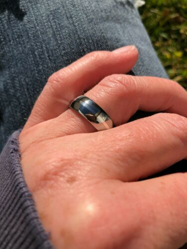 Titanium with Sterling Silver Inlay Made To Order Ring 7mm Wedding Band
