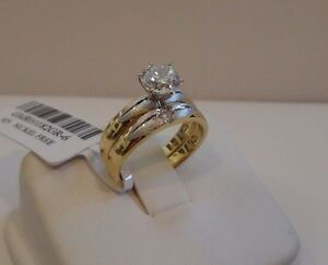 WEDDING RING & BAND W/ 1 CT LAB DIAMOND /SZ 5,6,7,8,9 / 925 STERLING SILVER