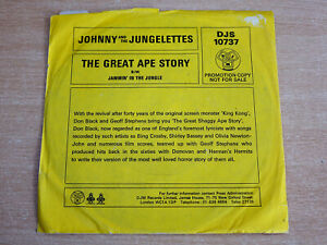 """Johnny & The Jungelettes/The Great Ape Story/1976 DJM 7"""" Single/Demo"""