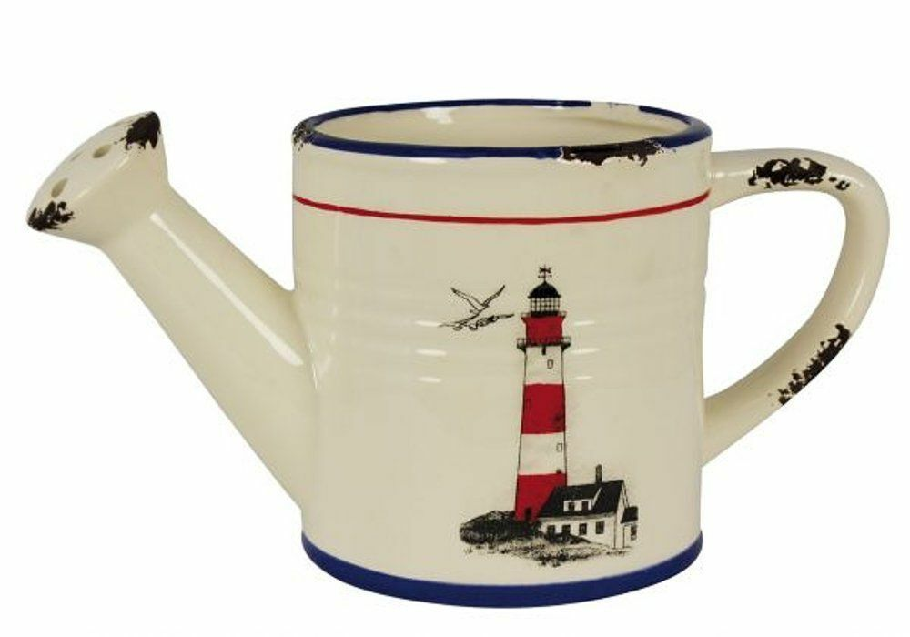 Watering Can, Keramik-Kanne- Flower Pot IN Maritime Style With Lighthouse Motif