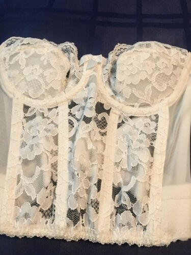 "Vintage ""Gold Label"" VS Sheer Floral White Bustier"