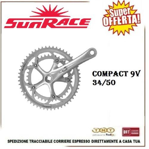 Guarnitura Bici Corsa R90 Compact 8 9V 34//50 Sunrace Pedivella 170 mm BCD 110mm