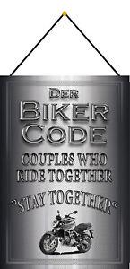 Biker Code Motif 10 Tin Sign Shield with Cord 20 X 30 CM CC0231-K
