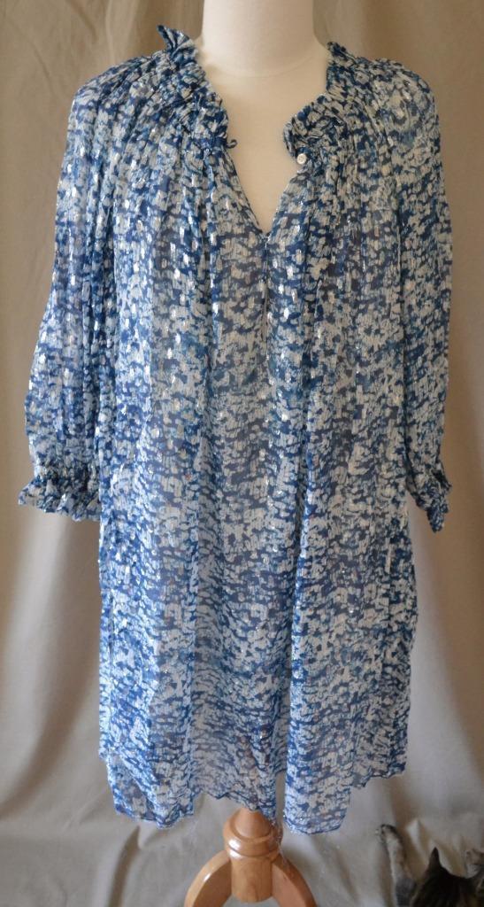 Isabel Marant Etoile Bell Argent Bleu & Blanc Robe De Soie SZ 2 Neuf Avec Étiquettes Retail  760