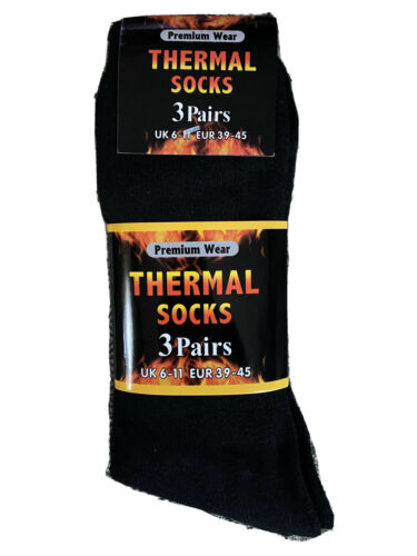 Ultimate 12 Pairs Mens Black Thermal Socks Thick Warm Work Boot Socks Size 6-11