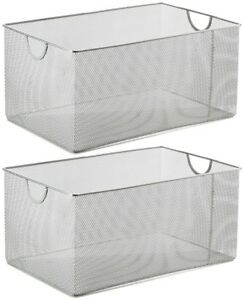 Ybm-Home-Silver-Mesh-Open-Bin-Storage-Basket-Organizer-Sold-Per-2-Pieces-198-2