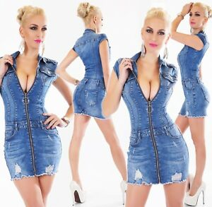 Franges Mini Denim Manches Robe En Stretch Fermetureclair Jeans Courtes wn84Rx7q