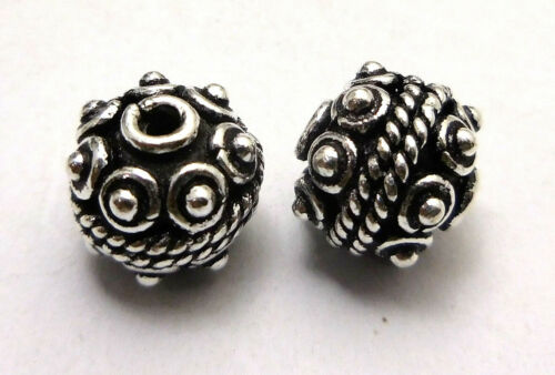 14 PCS 8MM BALI BEAD OXIDIZED STERLING SILVER PLATED  20 PC118