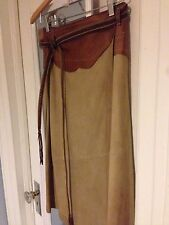 Henry Beguelin Cuir Tan Suede Leather Wrap Skirt Western Urban Cowgirl Boho s/m