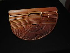 Vtg Japanese Bamboo Wood Slat Purse Half Moon Handbag Birdcage Basket Tote Bag