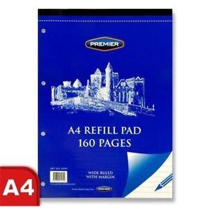 Premier-A4-160-pagina-BLANCO-agujero-perforado-cintura-ancha-gobernado-Recarga-Cojin-de-papel-x-2