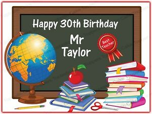 TEACHER EDIBLE ROUND BIRTHDAY CAKE TOPPER DECORATION PERSONALISED