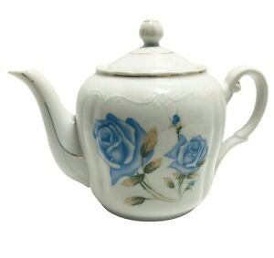 Vintage-Blue-Roses-Teapot-Hand-Painted-With-Silver-Trim-Porcelain