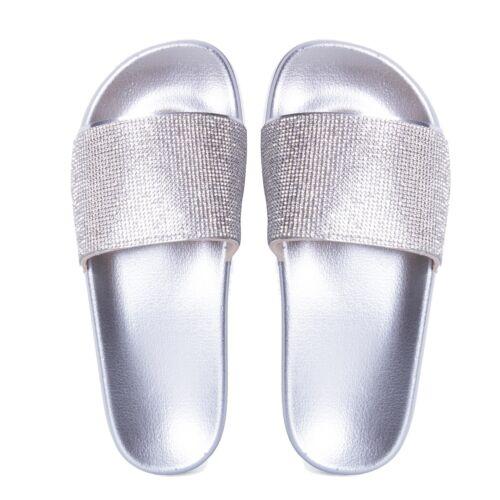 Kids Infants Children Diamond Detail Sliders Shoes Flats Diamonte Sandals Size