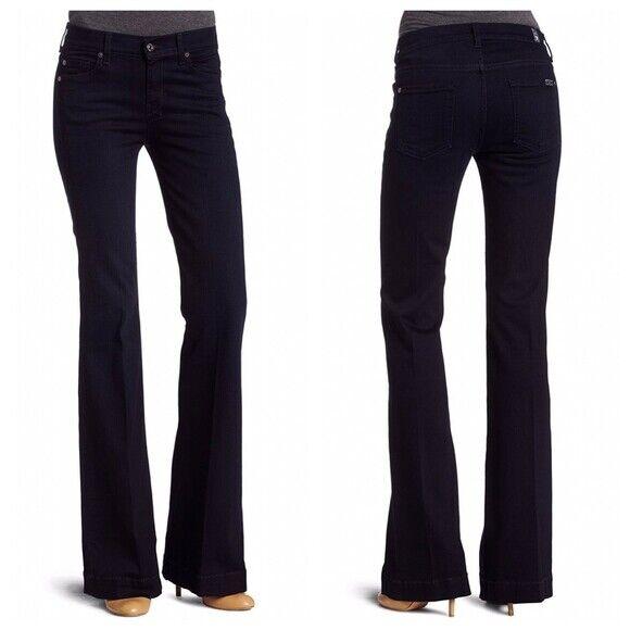 NWT 7 FOR ALL MANKIND Women's High Waist Slim Trouser Dark Wash Jeans 29