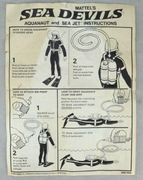 Major Matt Mason 1969 Kin Mattel Sea Devils Aquanaut Jet Instructions ORIGINAL
