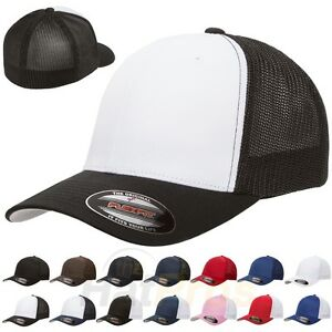 Flexfit-6511-Trucker-Mesh-Baseball-Cap-Plain-Blank-Hat-Curved-Visor-Flex-Fit