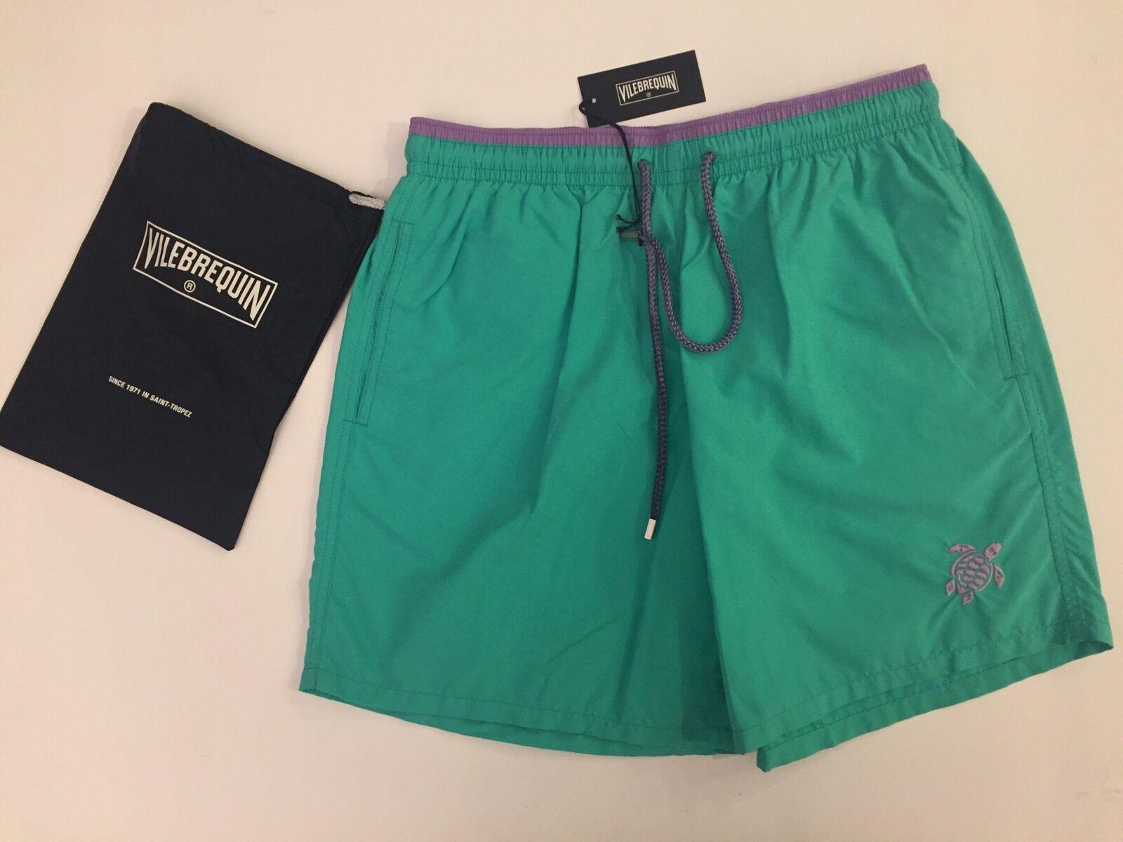 New w Tags & Bag Authentic Vilebrequin Moka Swim Trunks Green - Men 3XL