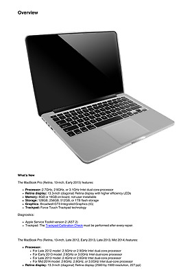 Apple MacBook Pro 13-inch Early 2015 Retina Technician Guide Service Manual