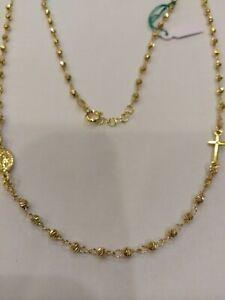 Halskette Rosenkranz Mod. Golden 52CM, aus Silber 925,Neu mit Garantie