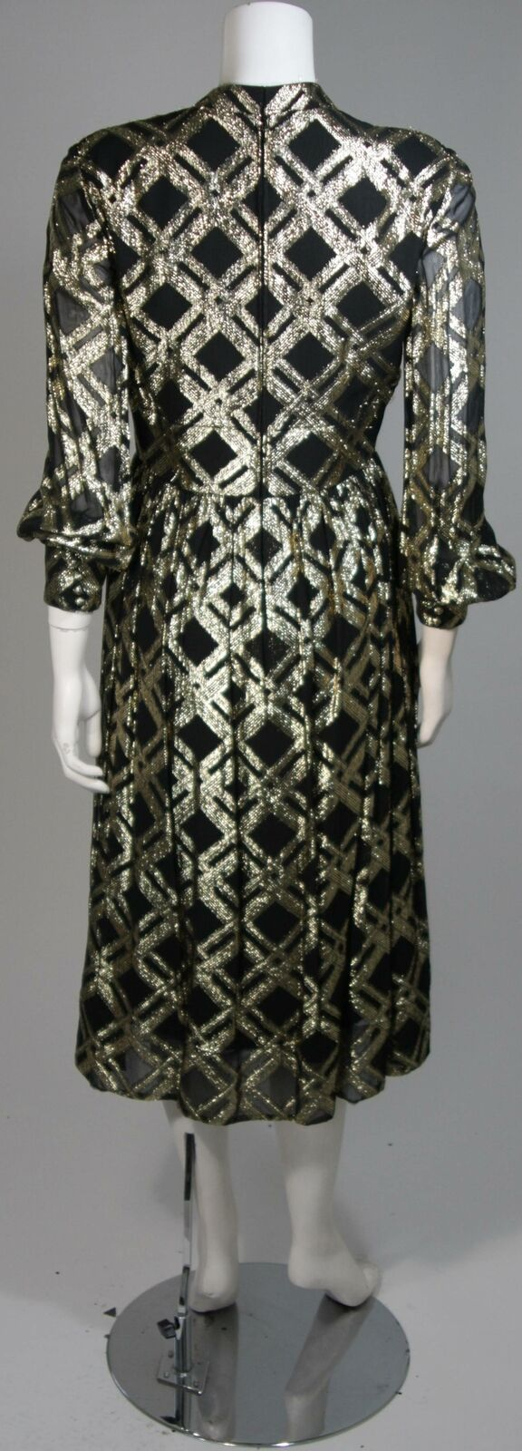 CEIL CHAPMAN Black Silk and Gold Cocktail Dress S… - image 8