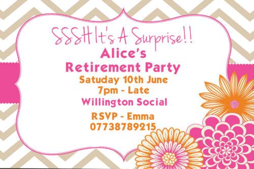 Personalised Colourful Surprise Retirement Party Invites inc Envelopes SR2