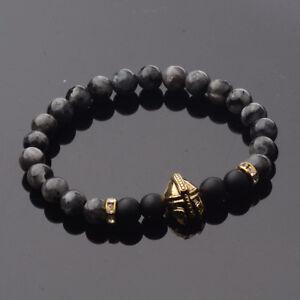 Men Women 8mm Natural Stone Chakra Beads Energy Gold Spartan Helmet Bracelets