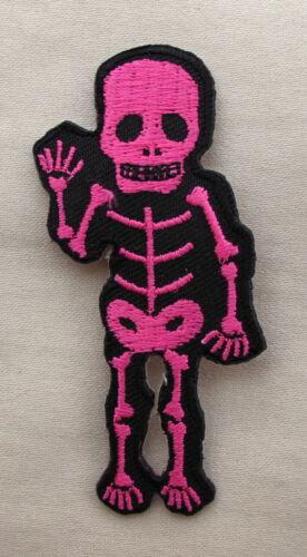 PINK WAVING  SKELETON  Iron On Sew On Patch Emo Goth Punk Rock