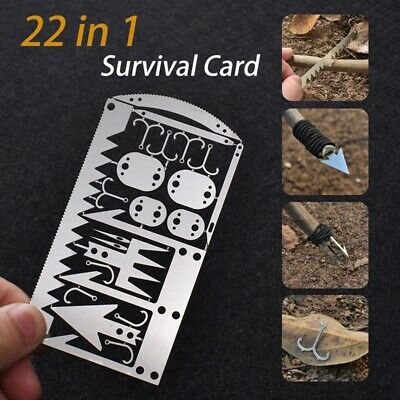 22 In1 Multi Tool Fishing Gear Credit Card Outdoor Survival Camping Set chw/_