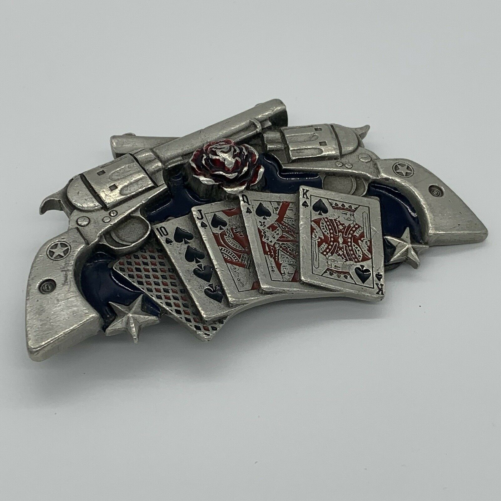 metal Playing Cards And Guns belt buckle