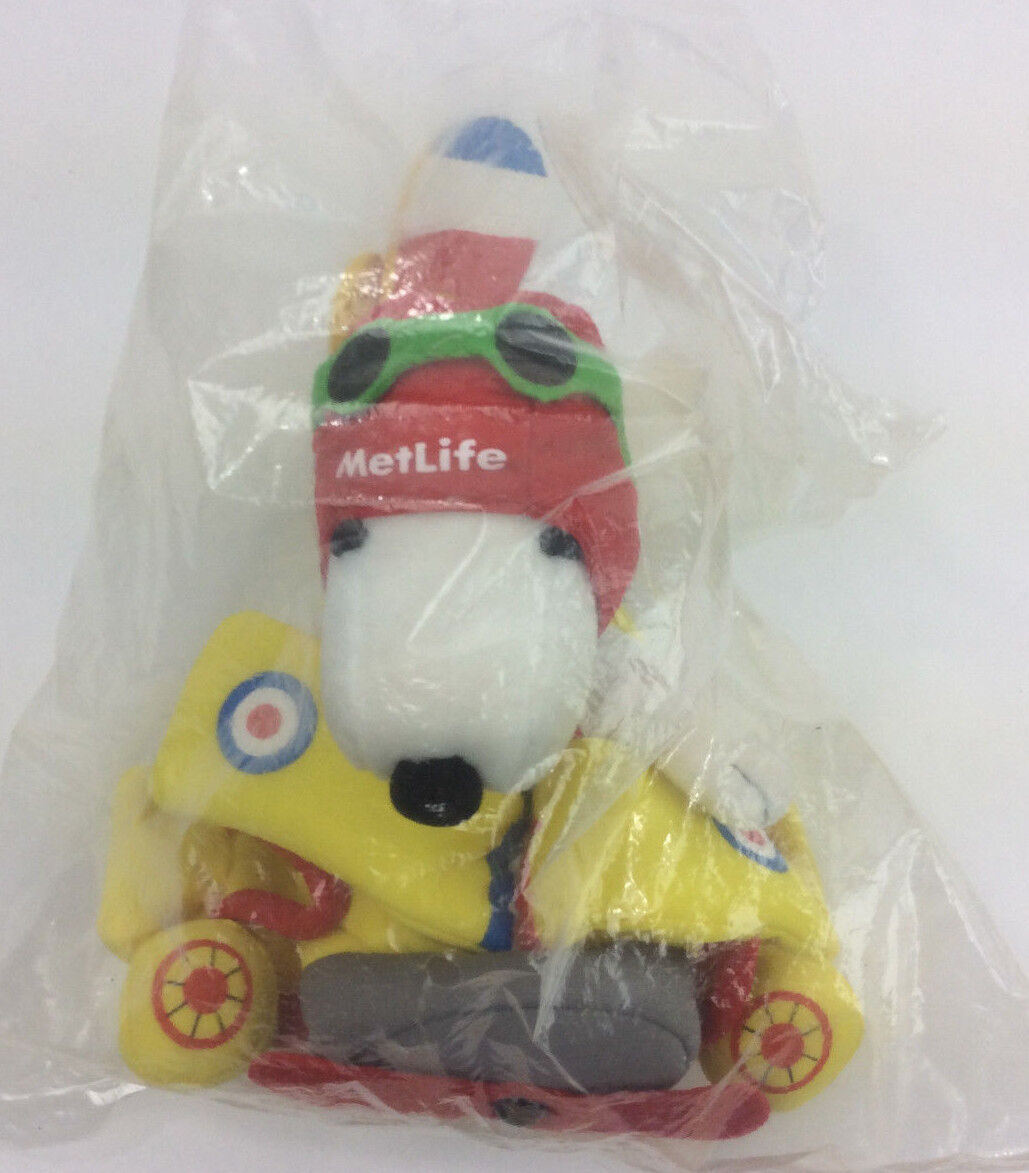 Snoopy Peanuts Baron Yellow Airplane Metlife Plush Stuffed Animal 10  NEW