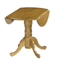 Round Dining Table Extendable Small Pedestal Wooden Pine Wood