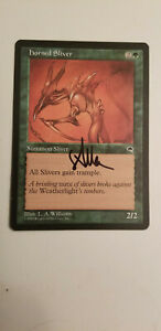 Horned Sliver Tempest Edition Signed By L.A Williams  MTG