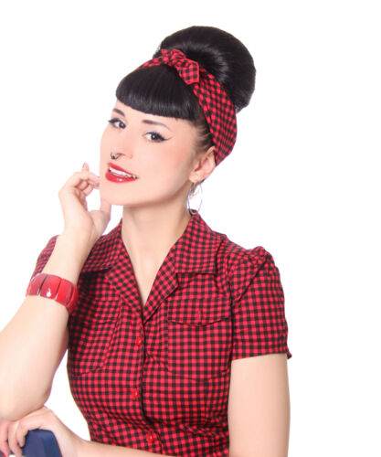 SugarShock 50s retro Gingham Pin Up Rockabilly Haar Tuch Nickituch Bandana