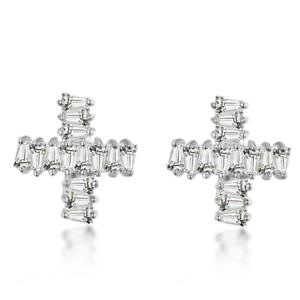 Fancy Design Stud Earrings 1ct Baguette Cut VVS1D Diamond 14k White gold Finish
