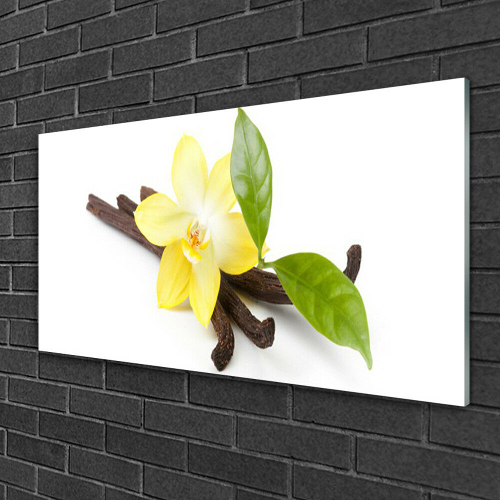 Glass print Wall art 100x50 Image Picture Vanilla Leaves Floral