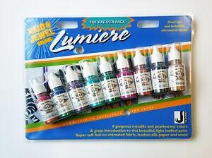 Jacquard-Lumiere-Halo-amp-Jewel-Exciter-Pack-9-x-14-ml-bottle-set-Fabric-Paint