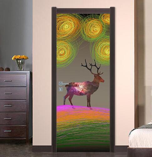 3D Hirsch Tür Wandmalerei Wandaufkleber Aufkleber AJ WALLPAPER DE Kyra