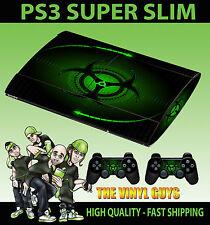 PLAYSTATION PS3 SUPER SLIM VERDE BIO HAZARD pericolo SKIN ADESIVO & 2 PAD Pelle