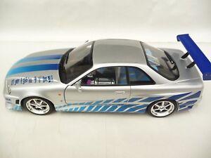 Lumière verte 1:18 Nissan Skyline Gt-r R34 Argent 2 Fast Furious Gl19029
