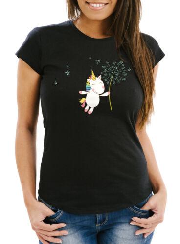 Damen T-Shirt Einhorn mit Pusteblume Unicorn with Dandelion Slim Fit Moonworks®