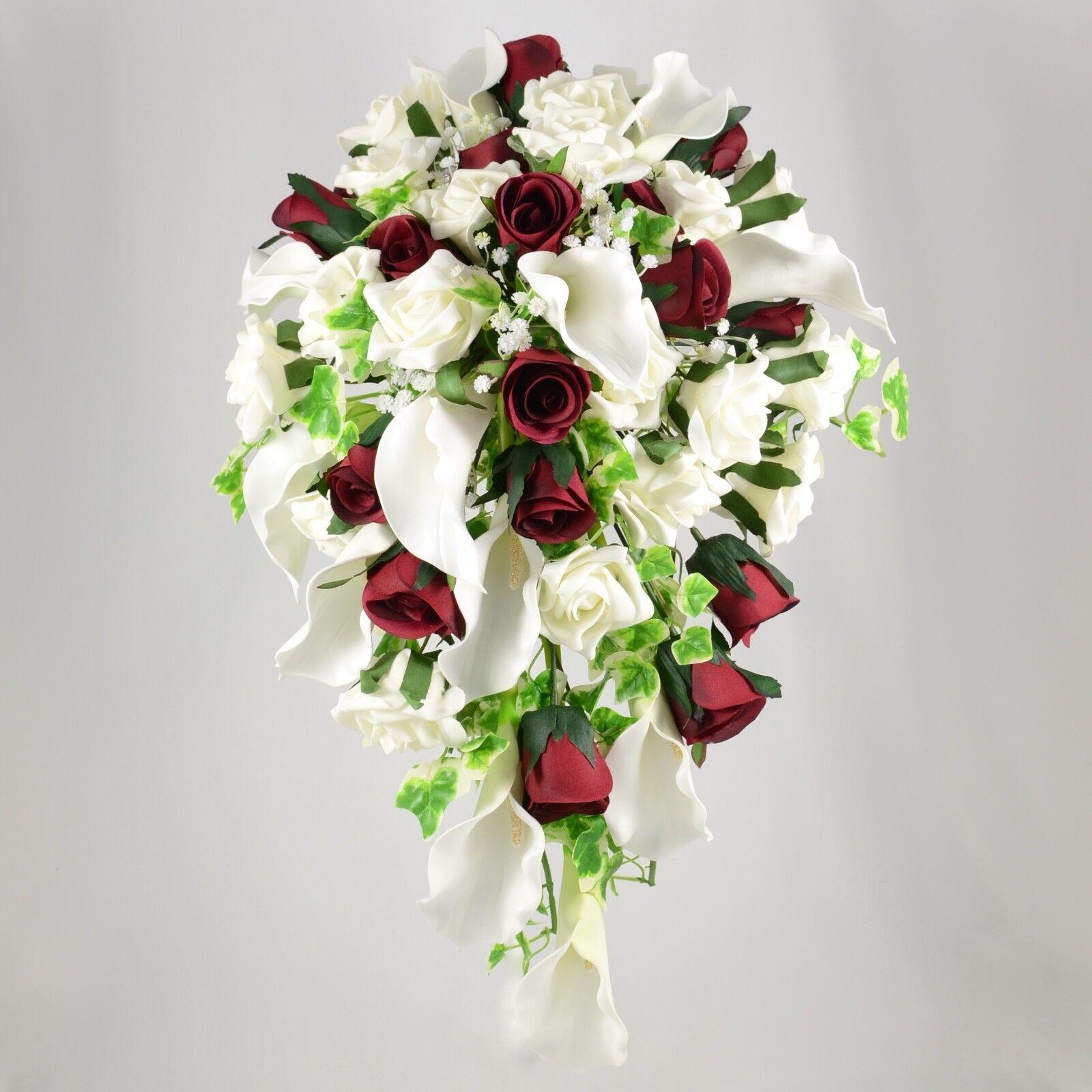 Artificielle Mariage fleurs soie Brides douche BOUQUET BORDEAUX IVOIRE Calla Lily