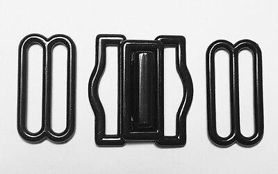 Black Tuxedo Cummerbund Buckle 3 Piece Metal Set - Tuxedo Interlock Buckle