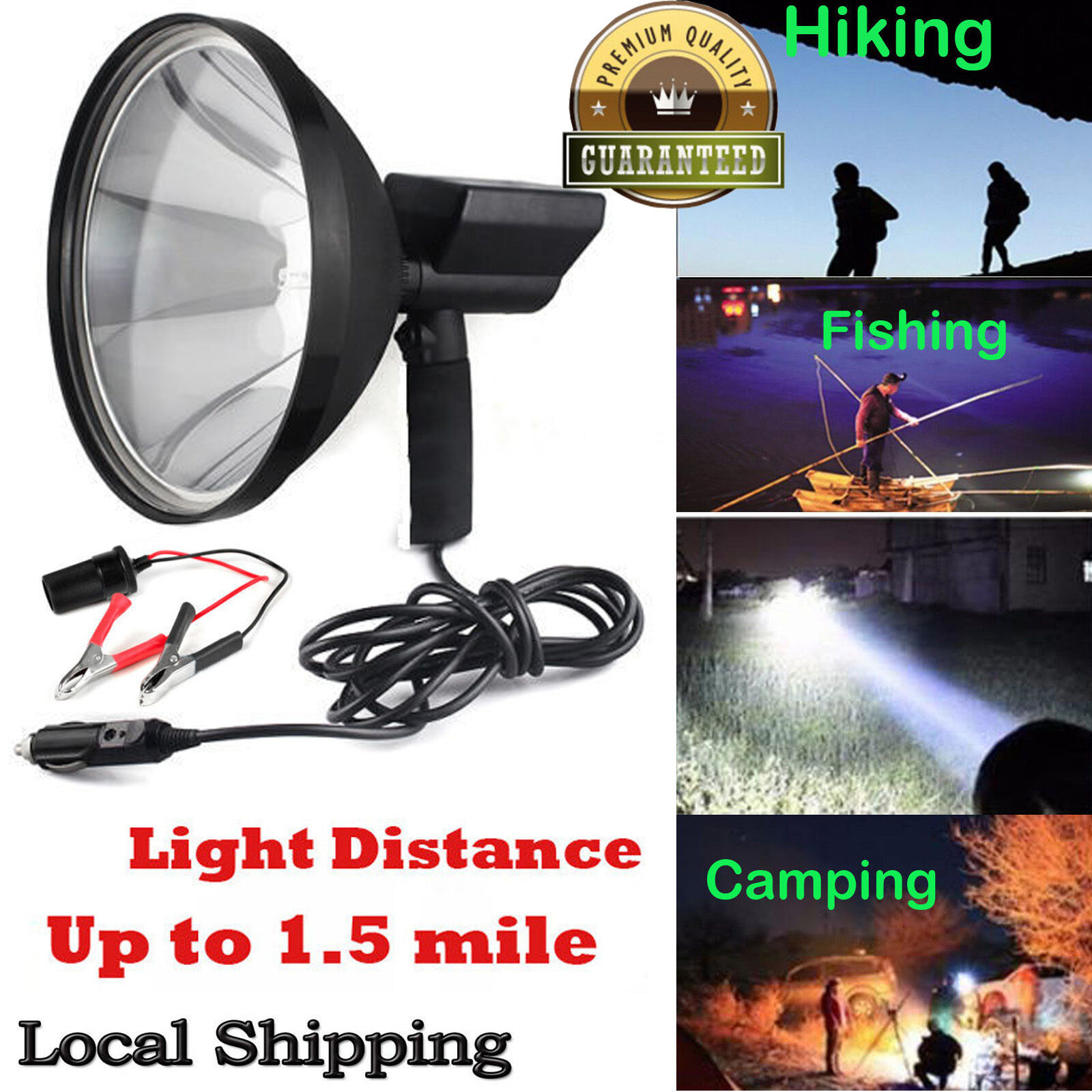 Handheld Hunting HID Spot Light Lamp 240mm Lamping Foxing Shooting 12V 100W 9''