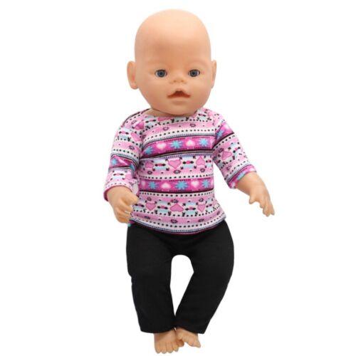 pink/schwarz Puppenkleidung Baby Born/Sister Shirt+Hose zb NEU 43 cm