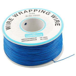 Breadboard-P-N-B-30-1000Tin-Plated-Copper-Wire-Wrapping-30AWG-Cable-305M-Blue-L6