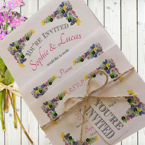 Personalised Rustic Wedding Invitations Set F.Garden Pink inc Envelopes, White