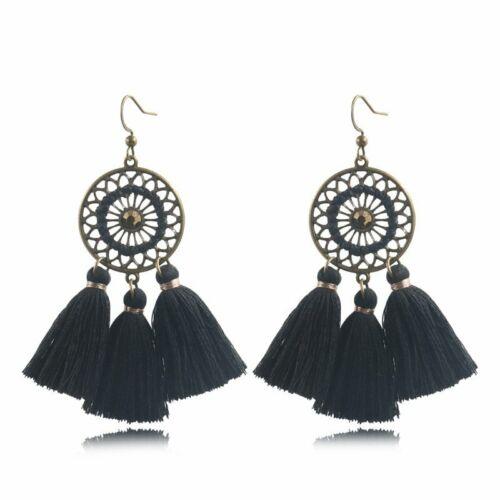 Femmes Mode Bohême Boucles D/'Oreilles Longue Tassel Fringe Goutte Dangle Ear Stud Bijoux