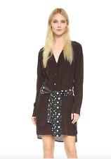 $328 EQUIPMENT BRAND KATE MOSS SILK ROSALIND SHIRT DRESS BLACK RED DOT XS (0 2)