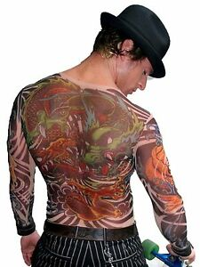 wild rose mens dragon tattoo shirt yakuza style full chest artwork sheer mesh ebay. Black Bedroom Furniture Sets. Home Design Ideas